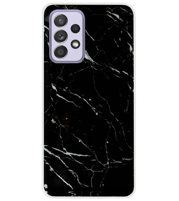 ADEL Siliconen Back Cover Softcase Hoesje voor Samsung Galaxy A72 - Marmer Zwart