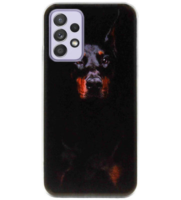 ADEL Siliconen Back Cover Softcase Hoesje voor Samsung Galaxy A72 - Dobermann Pinscher Hond