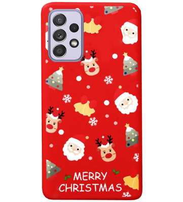 ADEL Siliconen Back Cover Softcase Hoesje voor Samsung Galaxy A72 - Kerstmis Rood
