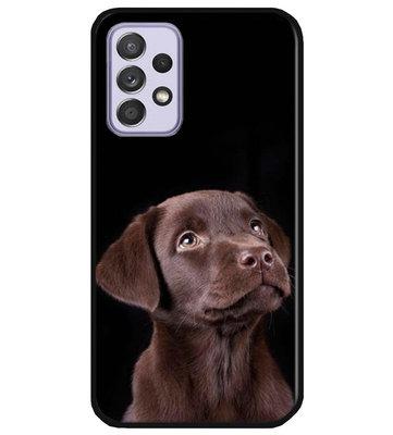 ADEL Siliconen Back Cover Softcase Hoesje voor Samsung Galaxy A72 - Labrador Retriever Hond Bruin