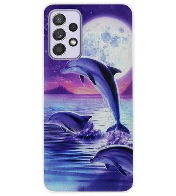 ADEL Kunststof Back Cover Hardcase Hoesje voor Samsung Galaxy A72 - Dolfijn Blauw