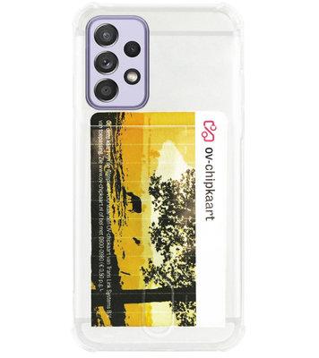 ADEL Siliconen Back Cover Softcase Hoesje voor Samsung Galaxy A72 - Pasjeshouder Doorzichtig