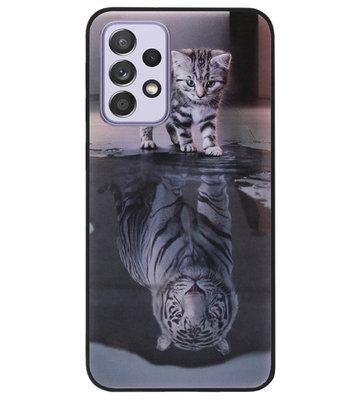 ADEL Siliconen Back Cover Softcase Hoesje voor Samsung Galaxy A72 - Poezen Schaduw Tijger
