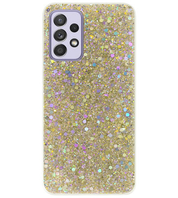 ADEL Premium Siliconen Back Cover Softcase Hoesje voor Samsung Galaxy A72 - Bling Bling Glitter Goud