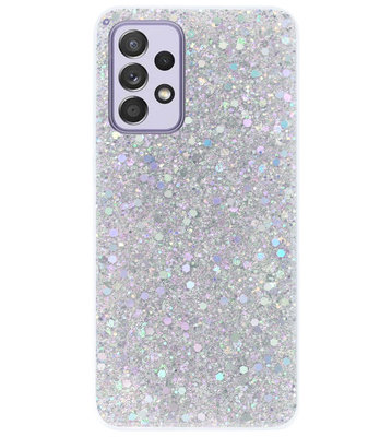 ADEL Premium Siliconen Back Cover Softcase Hoesje voor Samsung Galaxy A72 - Bling Bling Glitter Zilver