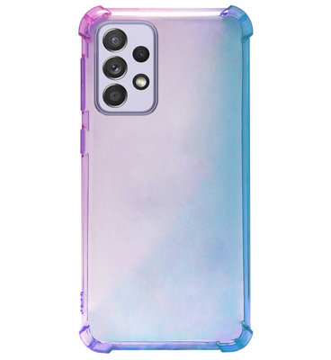 ADEL Siliconen Back Cover Softcase Hoesje voor Samsung Galaxy A72 - Kleurovergang Blauw Paars