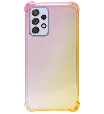 ADEL Siliconen Back Cover Softcase Hoesje voor Samsung Galaxy A72 - Kleurovergang Roze Geel