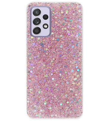 ADEL Premium Siliconen Back Cover Softcase Hoesje voor Samsung Galaxy A72 - Bling Bling Roze