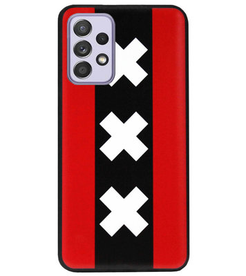 ADEL Siliconen Back Cover Softcase Hoesje voor Samsung Galaxy A72 - Amsterdam Andreaskruisen