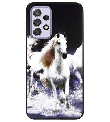 ADEL Siliconen Back Cover Softcase Hoesje voor Samsung Galaxy A72 - Paarden