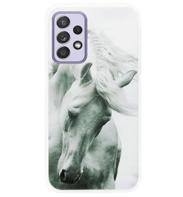 ADEL Siliconen Back Cover Softcase Hoesje voor Samsung Galaxy A72 - Paarden Wit