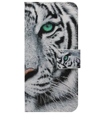 ADEL Kunstleren Book Case Pasjes Portemonnee Hoesje voor Samsung Galaxy A72 - Tijger