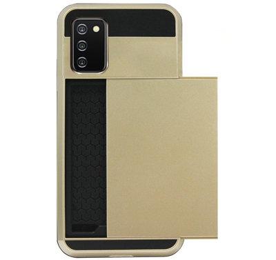 ADEL Kunststof Back Cover Hardcase Hoesje voor Samsung Galaxy A02s - Pasjeshouder Goud