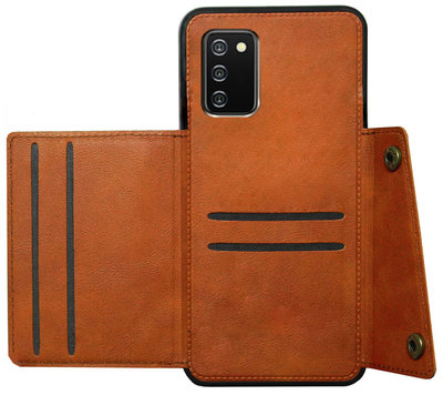 ADEL Kunstleren Back Cover Pasjeshouder Hoesje voor Samsung Galaxy A02s - Bruin