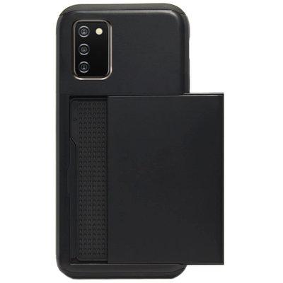 ADEL Kunststof Back Cover Hardcase Hoesje voor Samsung Galaxy A02s - Pasjeshouder Zwart
