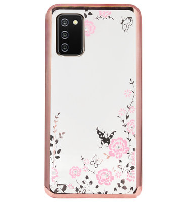 ADEL Siliconen Back Cover Softcase Hoesje voor Samsung Galaxy A02s - Glimmend Glitter Vlinder Bloemen Roze
