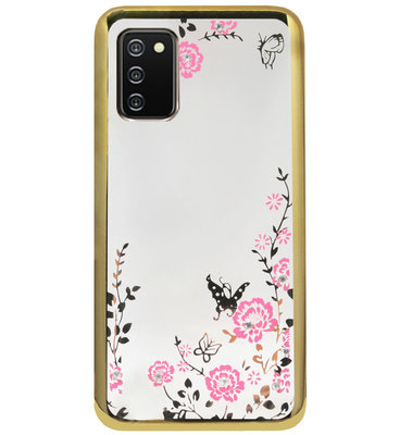 ADEL Siliconen Back Cover Softcase Hoesje voor Samsung Galaxy A02s - Glimmend Glitter Vlinder Bloemen Goud