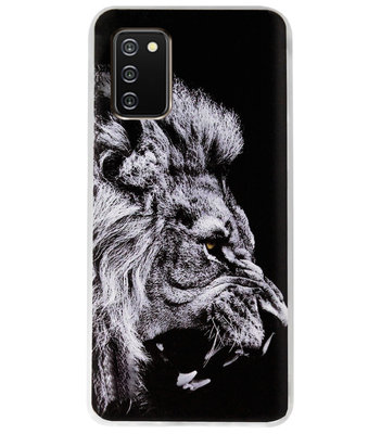 ADEL Siliconen Back Cover Softcase Hoesje voor Samsung Galaxy A02s - Leeuw Zwart