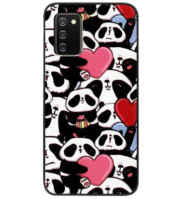 ADEL Siliconen Back Cover Softcase Hoesje voor Samsung Galaxy A02s - Panda Hartjes