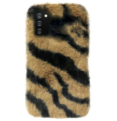 ADEL Siliconen Back Cover Softcase Hoesje voor Samsung Galaxy A02s - Luipaard Fluffy Bruin