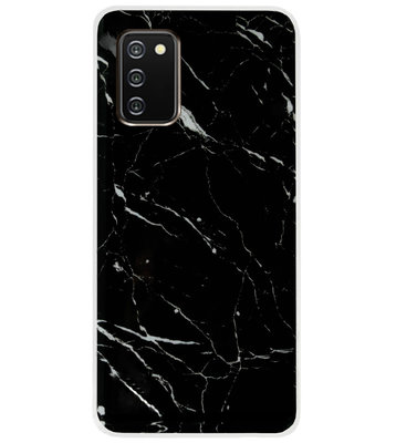 ADEL Siliconen Back Cover Softcase Hoesje voor Samsung Galaxy A02s - Marmer Zwart