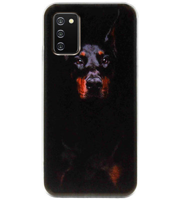 ADEL Siliconen Back Cover Softcase Hoesje voor Samsung Galaxy A02s - Dobermann Pinscher Hond