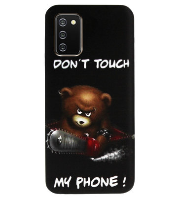 ADEL Siliconen Back Cover Softcase Hoesje voor Samsung Galaxy A02s - Don't Touch My Phone Beren