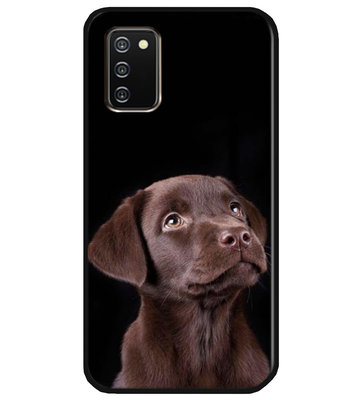 ADEL Siliconen Back Cover Softcase Hoesje voor Samsung Galaxy A02s - Labrador Retriever Hond Bruin