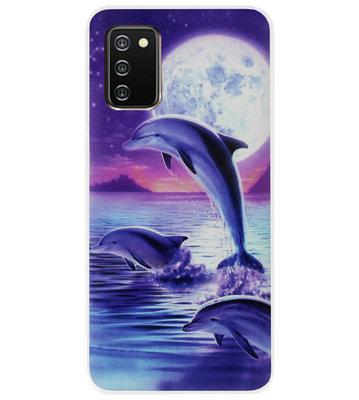 ADEL Kunststof Back Cover Hardcase Hoesje voor Samsung Galaxy A02s - Dolfijn Blauw