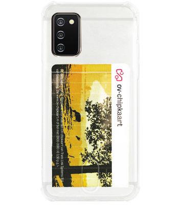 ADEL Siliconen Back Cover Softcase Hoesje voor Samsung Galaxy A02s - Pasjeshouder Doorzichtig