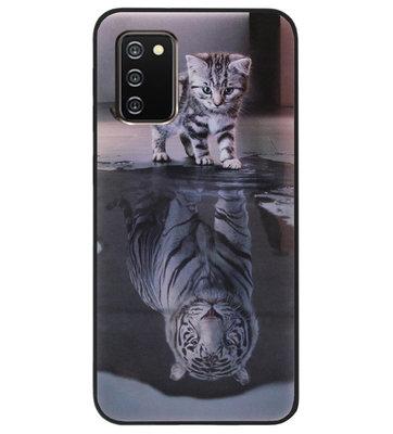 ADEL Siliconen Back Cover Softcase Hoesje voor Samsung Galaxy A02s - Poezen Schaduw Tijger