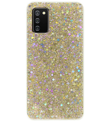 ADEL Premium Siliconen Back Cover Softcase Hoesje voor Samsung Galaxy A02s - Bling Bling Glitter Goud