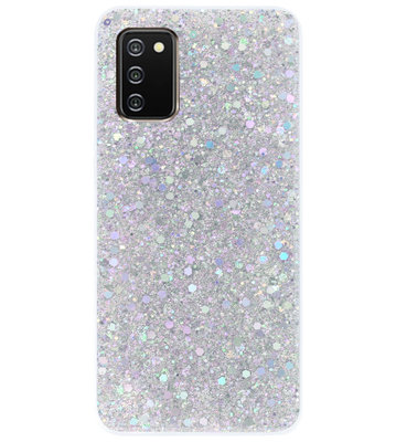 ADEL Premium Siliconen Back Cover Softcase Hoesje voor Samsung Galaxy A02s - Bling Bling Glitter Zilver