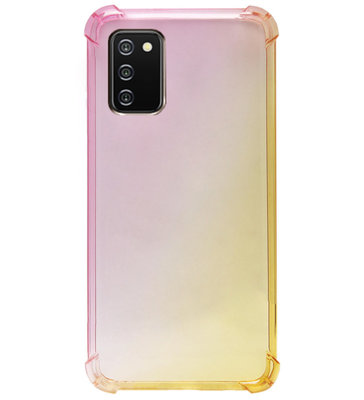 ADEL Siliconen Back Cover Softcase Hoesje voor Samsung Galaxy A02s - Kleurovergang Roze Geel