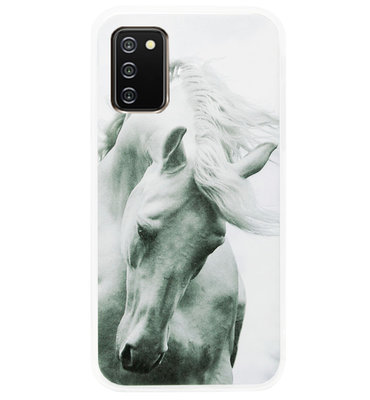 ADEL Siliconen Back Cover Softcase Hoesje voor Samsung Galaxy A02s - Paarden
