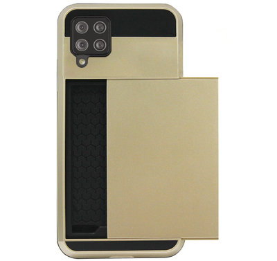 ADEL Kunststof Back Cover Hardcase Hoesje voor Samsung Galaxy A12/ M12 - Pasjeshouder Goud