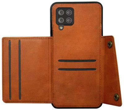 ADEL Kunstleren Back Cover Pasjeshouder Hoesje voor Samsung Galaxy A12/ M12 - Bruin