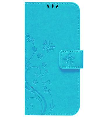 ADEL Kunstleren Book Case Pasjes Portemonnee Hoesje voor Samsung Galaxy A12/ M12 - Vlinder Blauw