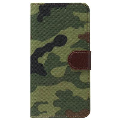 ADEL Kunstleren Book Case Pasjes Portemonnee Hoesje voor Samsung Galaxy A12/ M12 - Camouflage Groen