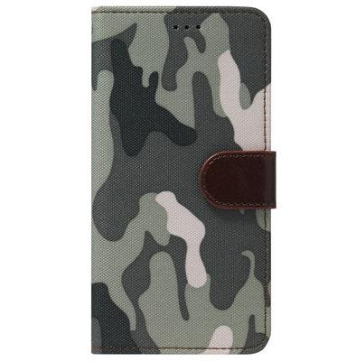 ADEL Kunstleren Book Case Pasjes Portemonnee Hoesje voor Samsung Galaxy A12/ M12 - Camouflage Grijs