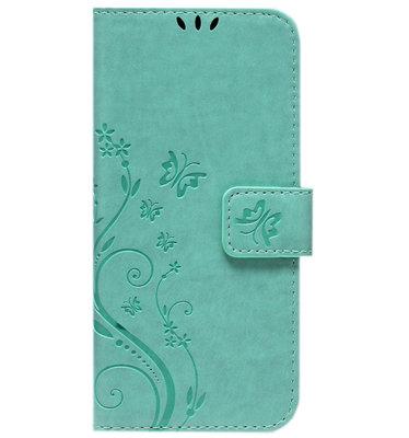 ADEL Kunstleren Book Case Pasjes Portemonnee Hoesje voor Samsung Galaxy A12/ M12 - Vlinder Groen
