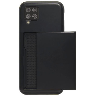 ADEL Kunststof Back Cover Hardcase Hoesje voor Samsung Galaxy A12/ M12 - Pasjeshouder Zwart