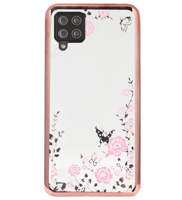ADEL Siliconen Back Cover Softcase Hoesje voor Samsung Galaxy A12/ M12 - Glimmend Glitter Vlinder Bloemen Roze