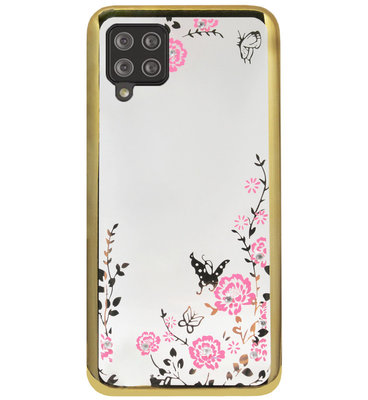 ADEL Siliconen Back Cover Softcase Hoesje voor Samsung Galaxy A12/ M12 - Glimmend Glitter Vlinder Bloemen Goud