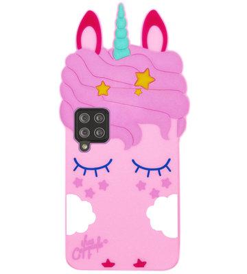 ADEL Siliconen Back Cover Softcase Hoesje voor Samsung Galaxy A12/ M12 - Eenhoorn Roze