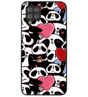 ADEL Siliconen Back Cover Softcase Hoesje voor Samsung Galaxy A12/ M12 - Panda Hartjes