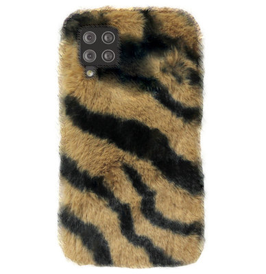 ADEL Siliconen Back Cover Softcase Hoesje voor Samsung Galaxy A12/ M12 - Luipaard Fluffy Bruin