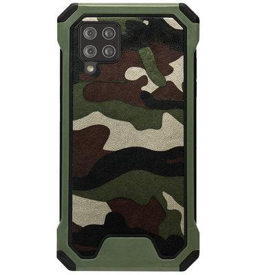 ADEL Kunststof Bumper Case Hoesje voor Samsung Galaxy A12/ M12 - Camouflage Groen