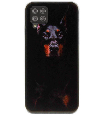 ADEL Siliconen Back Cover Softcase Hoesje voor Samsung Galaxy A12/ M12 - Dobermann Pinscher Hond