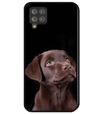 ADEL Siliconen Back Cover Softcase Hoesje voor Samsung Galaxy A12/ M12 - Labrador Retriever Hond Bruin